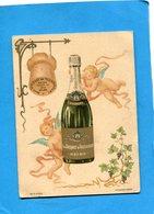 """Champagne """"Vve Cliquot De Toussicourt-RARE- Carte Double Illustrée Avec Angelots- Calendrier 1900 Et Voeux - Calendriers"""