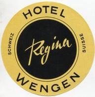 HOTEL REGINA WENGEN Ca. 1940 Etiquette De Bagages - Hotel-Etikette - Suisse - Schweiz - Etiquettes D'hotels