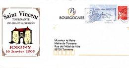 Lettre Illustrée Saint Vincent Tournante Du Grand Auxerrois à JOIGNY Le 16/1/05 - Vins & Alcools