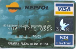 SPAIN ESPANA BBVA / Repsol / Oil Platform / Visa + Visa Electron - Geldkarten (Ablauf Min. 10 Jahre)