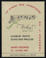 """Rare // Etiquette De Vin // Musique // Féchy, Coeur Mixte """"Echo Des Meilles"""" Saint-George - Musique"""