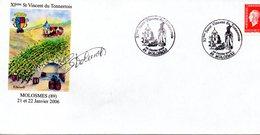 Lettre Illustrée De La XIème Saint Vincent Du Tonnerrois  à MOLOSMES  Les 21 Et 22/01/2006 - Vins & Alcools
