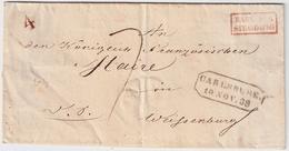 1838, BADE PAR STRASBOURG (Rupp FF 400.-)    , #a1530 - Storia Postale
