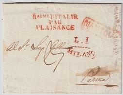 """1812, """" RAUME D' ITALIE - PAR - PLAISANCE """" Tres Claire  , #a1531 - Postmark Collection (Covers)"""