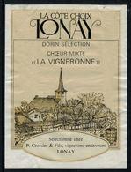 """Rare // Etiquette De Vin // Musique //  Lonay, Choeur-Mixte """"La Vigneronne"""" - Musique"""
