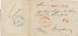 721/27 -  Lettre Précurseur LIEGE 1838 En PORT PAYE Vers Bruxelles - Griffe Après Le Départ - 1830-1849 (Belgique Indépendante)