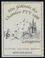 Rare // Etiquette De Vin // Musique // Mon-sur-Rolle, Fête Fédérale Des Chorales PTT 1988 - Musique