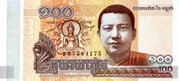 CAMBODGE - National Bank Of Cambodia - 100 Riels 2014  - Série ខភ 7584175 - Bouddha - Temple - P.65 -  UNC - Cambodge