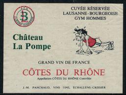 Rare // Etiquette De Vin // Gymnastique // Côte Du Rhône, Lausanne-Bourgeoise Gym Hommes - Etiketten