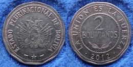 BOLIVIA - 2 Bolivianos 2012 KM# 218 Monetary Reform (1987) - Edelweiss Coins - Bolivie