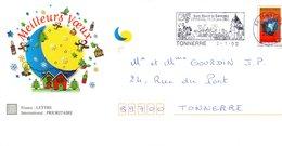 PAP Illustré Meilleurs Voeux Avec Flamme Annonce St Vincent Du Tonnerrois à EPINEUIL (89) Du 02/1/02 - Vins & Alcools