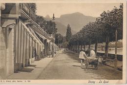 VEVEY → Le Quai, Belle Et Ancienne Carte Postale Avec Des Passants Anno 1907 - VD Vaud