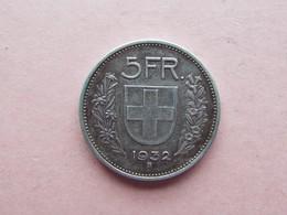 5 FRANCS HELVETIE. 1932B  ARGENT - Suisse