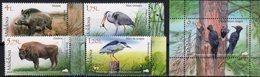MOLDOVA, 2018, MNH, FAUNA, BIRDS, BISON, WILD BOARS, FROGS, 4v+S/SHEET - Birds