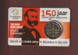 BELGIQUE De 2014 - BU Officiel De La Pièce 2€ Les 150 Ans De La CROIX - ROUGE - Plaquette Scellée D'origine - 2 Scannes - Belgium