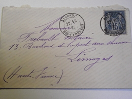 Enveloppe, Postée à, BAYONNE, Pour Limoges, Hte Vienne,1883. - 1877-1920: Période Semi Moderne