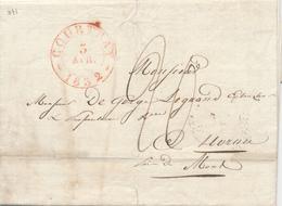 727/27 -  Lettre Précurseur COURTRAI 1832 Vers HORNU - Origine Manuscrite HARLEBEKE - 1830-1849 (Belgique Indépendante)