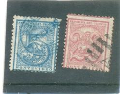 1872 URUGUAY Y & T N° 35 - 38 ( O ) Les 2 Timbres - Uruguay