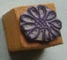Dessin, Fleur, Marguerite - Tampon Scolaire, Petit Cube Bois - French Rubber Stamp, School - Coloriage - Loisirs Créatifs