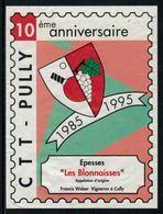 Rare // Etiquette De Vin // Tennis De Table // Epesses 10ème Anniversaire CTT-Pully - Etiketten