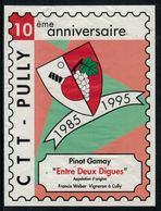 Rare // Etiquette De Vin // Tennis De Table // Pinot-Gamay, 10ème Anniversaire CTT-Pully - Etiketten