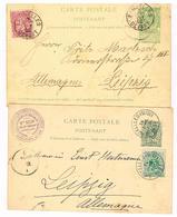 Carte Postale Entier Postal BELGIQUE + Timbre Ajouté - 1891 Et 1902 - Cachet Mce BELIN, Timbres Rares Et Collections - Entiers Postaux