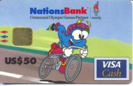 USA Nations Bank / Atlanta 1996  Olympic Games / Visa Cash $50 / Quantity=30,000ex - Geldkarten (Ablauf Min. 10 Jahre)