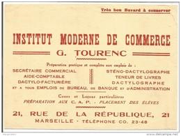 MARSEILLE- BUVARD INSTITUT MODERNE COMMERCE- G. TOURENC- 21 RUE REPUBLIQUE- ECOLE AIDE COMPTABLE-DACTYLO- - Blotters