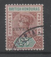 British Honduras, Used, 1899, Michel 42, Overprint REVENUE, Demaged R - Looks Like N - British Honduras (...-1970)