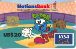 USA Nations Bank / Atlanta 1996  Olympic Games / Visa Cash $20 / Quantity=60,000ex - Tarjetas De Crédito (caducidad Min 10 Años)
