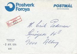 Faroe Islands. R-Cover Sent To Denmark 1984. Service Des Postes.  H-1423 - Faroe Islands