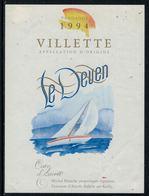 Rare // Etiquette De Vin // Bateau à Voiles // Villette, Le Deven - Bateaux à Voile & Voiliers