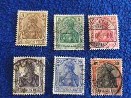 Germany, Set Of 6 From 1902-11 Series, Canceled & Hinged - Germany