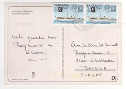 """Beau Timbre , Stamp """" Bateau  """"  Sur Cp , Carte , Postcard De Zanzibar Du 07/09/1993 - Tanzanie (1964-...)"""