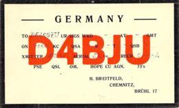 Funkhörerkarte Vorkrieg D4BJU - Amateurfunk