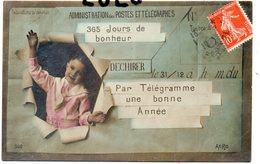POSTE 4 : Administration Des Postes Et Télégraphes , Par Télégramme Une Bonne Année ; édit. Aéro 560 - Poste & Facteurs