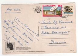 Beaux Timbres , Stamps   Yvert N° 136 , 166 Sur Cp , Carte , Postcard  Du 16/03/1987 Pli Angle Supérieur Droit - Tanzanie (1964-...)