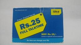 India-idea-full Talktime-card-(35a)-(rs.25)-(9098444086394)-(jaipur)-()-card Used+1 Card Prepiad Free - India