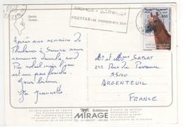 """Beau Timbre , Stamp  """" Cheval """"  Sur Cp , Carte , Postcard  Pour La France - Tunisie (1956-...)"""