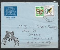 USED AIR MAIL AEROGRAMME TO KENYA TO ENGLAND - Kenya (1963-...)