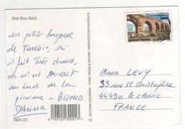 """Beau Timbre , Stamp  """" Monument : Pont """"  Sur Cp , Carte , Postcard  Pour La France - Tunisie (1956-...)"""