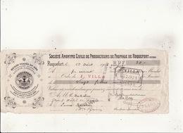 Roquefort Surchoix Cociété Carrière Fondée En 1882  1 Aout 1908 Cachets TImbre 5c Millau St Gaudens - Lettres De Change