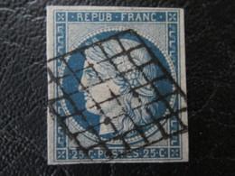 N°4 Type Ceres Bleu Sur Jaune OBL B - 1870 Emission De Bordeaux