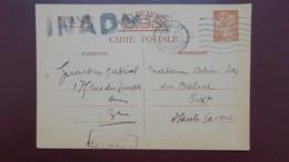 Entier Postal Carte Iris Avril 1941 Paris Pour Sixt Haute Savoie Griffe Inadmis Retour Envoyeur - Entiers Postaux