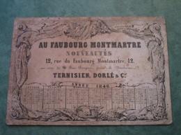 ANNEE 1848 - AU FAUBOURG MONTMARTRE Nouveautés - 12, Rue Du Faubourg Montmartre - Calendriers