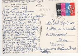 """Beau Timbre , Stamp  """" Développement 1966 """"  Sur Cp , Carte , Postcard  Pour La France - Tunisie (1956-...)"""