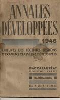 Livres. Scolaires. Annales Développées. 1946. Baccalauréat Deuxième Partie. Mathématiques 2. M. Hervé - 12-18 Ans