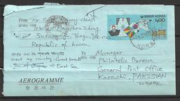 USED AIR MAIL AEROGRAMME KOREA  TO PAKISTAN - Korea (...-1945)