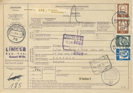 (Z08) - ALLEMAGNE - MI N° 356 X2 +358+351 - PAKETKARTE KASSEL WILHELMSHOHE => BELGIEN 1964 - Covers & Documents