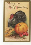 "HAPPY THANKSGIVING, Turkey & Pumpkin, Signed Artist ""Ellen Clapsaddle"", 1910 USA Postcard - Clapsaddle"